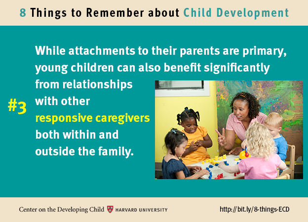 Number 3: While attachments to their parents are primary, young children can also benefit significantly from relationships with other responsive caregivers both within and outside the family.