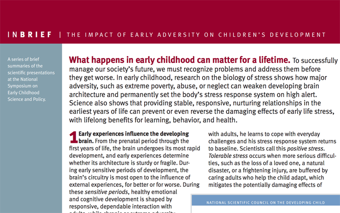 InBrief: The impact of early adversity on children's development cover thumbnail