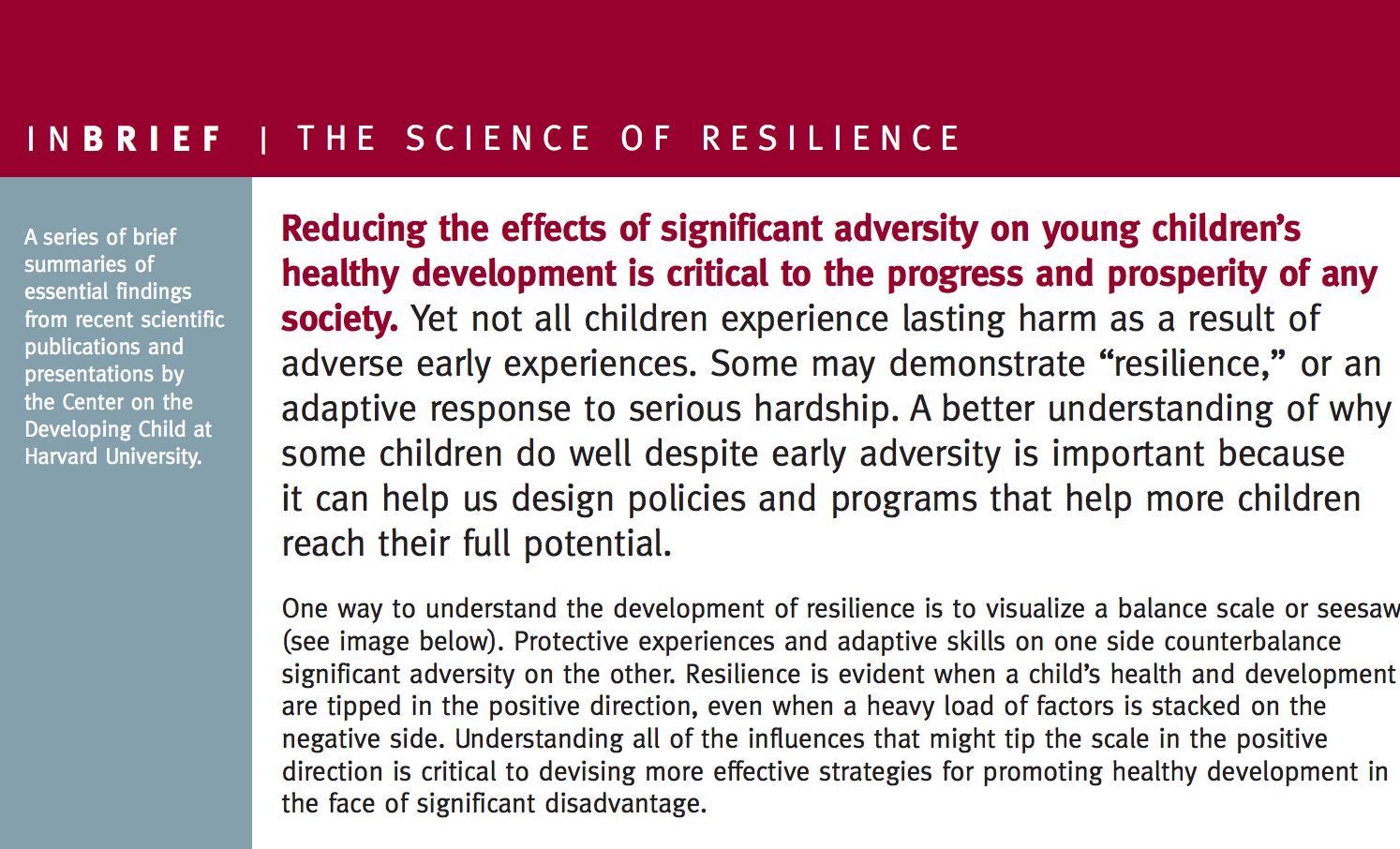 The Science of Resilience InBrief
