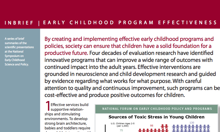 Inbrief Early Childhood Program Effectiveness