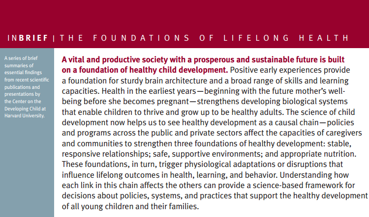 Foundations of Lifelong Health InBrief