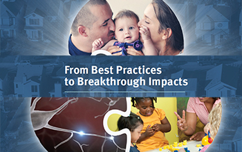 A cover image from the Best Practices to Breakthrough Impacts paper, showing the title and an image of two parents kissing their baby