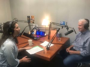 Podcast host Sally Pfitzer and Center Director Jack Shonkoff record an episode of The Brain Architects