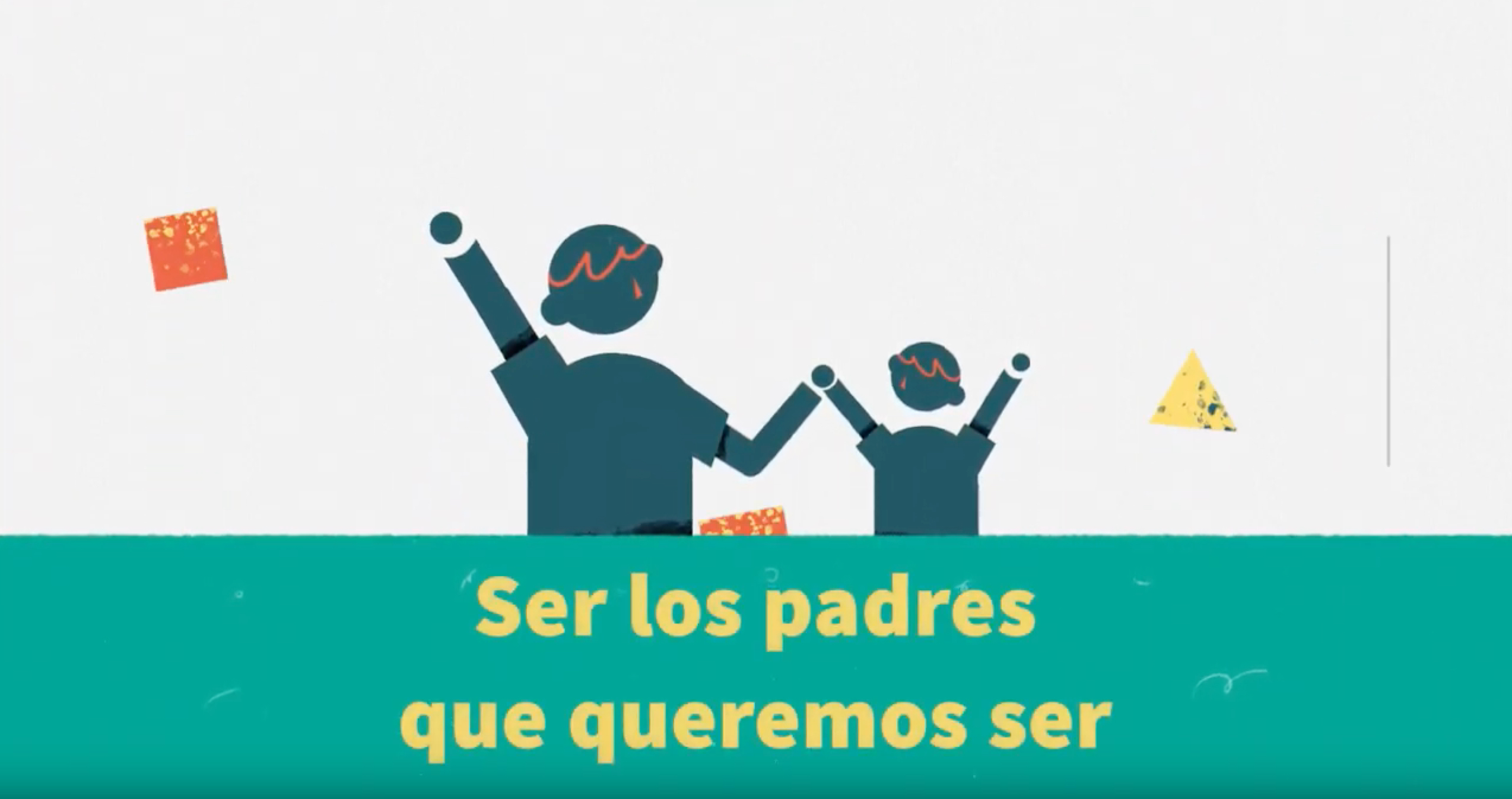 Illustrated adult and child holding hands with text 'Ser los padres que queremos ser'