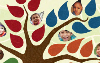Illustration of tree with some of the leaves showing pictures of children's faces