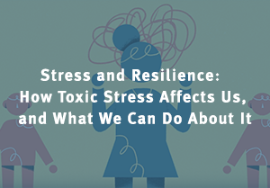 A still from the video Stress and Resilience: How Toxic Stress Affects Us, and What We Can Do About It, showing a woman experiencing stress depicted as squiggles around her head