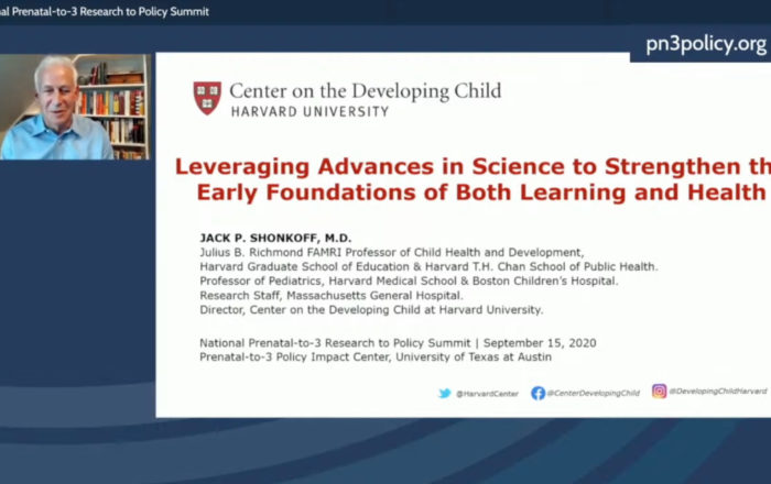 Still from Dr. Jack P. Shonkoff's presentation at the 2020 National Prenatal-to-3 Research to Policy Summit
